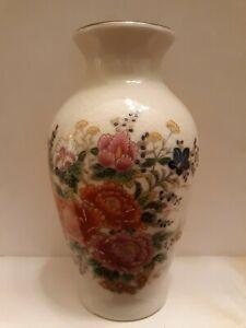 Porcelain-Japan-Asian-Oriental-Vase-Made-In-Japan-Flowers-7-034-tall