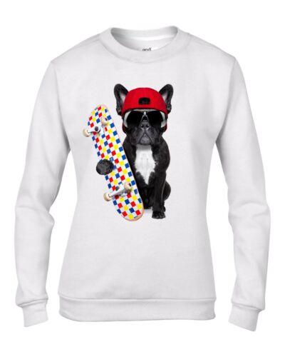 Funny Dog Gift French Bulldog Skateboarder Women/'s Sweatshirt Jumper