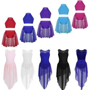 Girl-Dance-Ballet-Jazz-Dress-Sleeveless-Crop-Top-Skirt-Lyrical-Dancewear-Costume