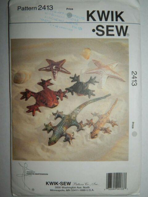 Starfish in 2 Sizes Sewing Pattern Frog Gecko Kwik Sew 2413 Crafts//Pet Sand Filled Lizard