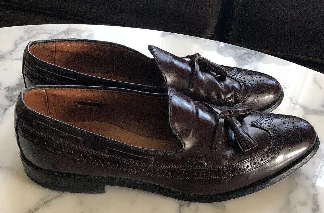 Allen Edmonds Burgundy Brown Leather Slip On Tassel Loafers Men's 11 C Wingtip