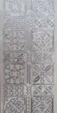 Sticker Sheet Silver on Pearl Layered Medallion Squares Butterfly Flower Bows