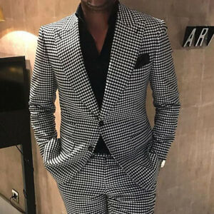 Mens-Black-amp-White-Houndstooth-Tweed-Blazer-Suits-Groom-Prom-Wedding-Tuxedos-Lapel