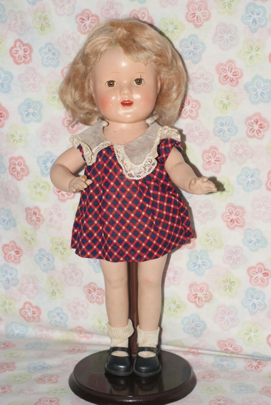 PRETTY  Vintage 14  Shirley Temple LOOK-A-LIKE Unmarked Composition Doll