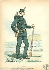 Military engineering GENIE SOLDAT 1887 DANEMARK DENMARK UNIFORM ANTIQUE PRINT