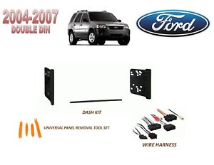 details about 2004-2007 ford escape hybrid double din car stereo install kit,  w/ wire harness
