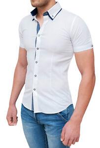 Détails sur Chemise Homme Manches Courtes Slim Fit Moulant Blanc Casual Taille S M L XL XXL