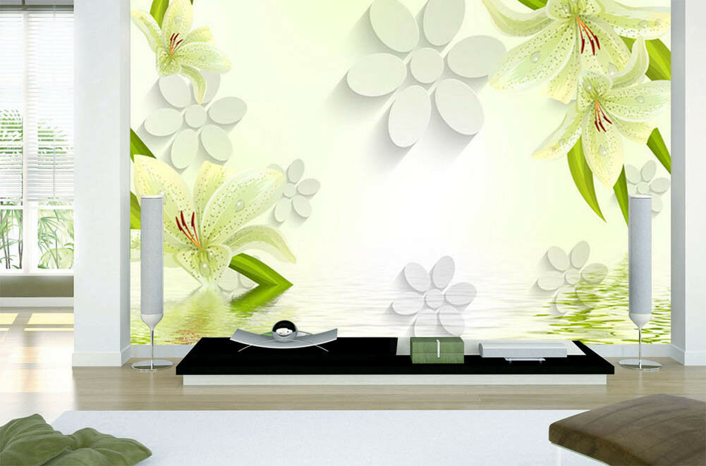 Flowers In The Water 3D Full Wall Mural Photo Wallpaper Printing Home Kids Decor