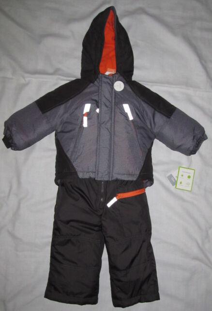 c0d95c59a New Carters Gray Orange 2 Piece Snowsuit Set Ski Jacket Bib Pants Size 12  Months