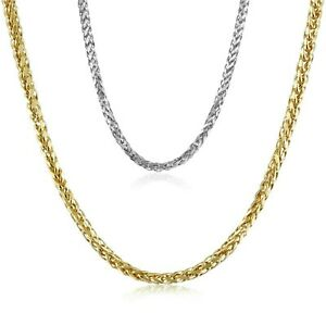82e5266cbd3a2 Details about 14K Solid Yellow & White Gold Italy Fancy Round Wheat Chain  Necklace 2.5 mm