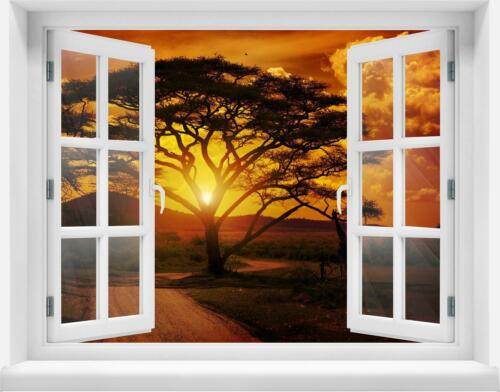 3D-Wandsticker Afrika Sonnenuntergang Aufkleber Mauerdurchbruch M0001