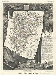 GEOGRAPHY-MAP-ILLUSTRATED-ANTIQUE-LEVASSEU-L-039-AISNE-POSTER-ART-PRINT-BB4361A