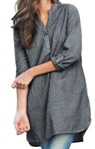 Ellos blouse top shirt plus size 24/26 28/30 32/34 36/38 grey stripe cotton