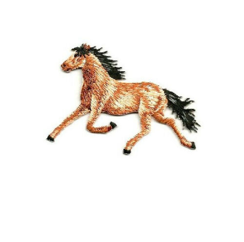 Horse Racing Western Embroidered Iron On Applique Patch Animal Left