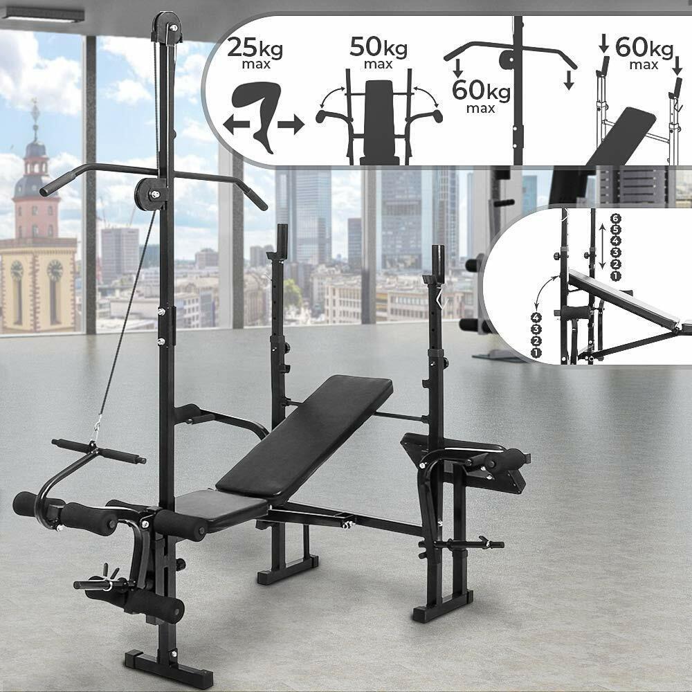 Panca multifunzione Fitness con Porta Bilanciere Pieghevole e Regolabile Nera