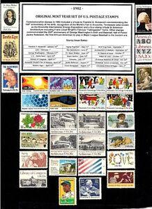 1982-ORIGINAL-COMMEMORATIVE-YEAR-SET-OF-MINT-MNH-VINTAGE-U-S-POSTAGE-STAMPS