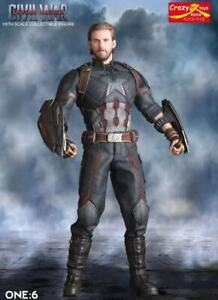 CRAZY-TOYS-1-6-SCALE-CIVIL-WAR-CAPTIAN-AMERICA-COLLECTIBLE-FIGURE-STATUE-12-INCH