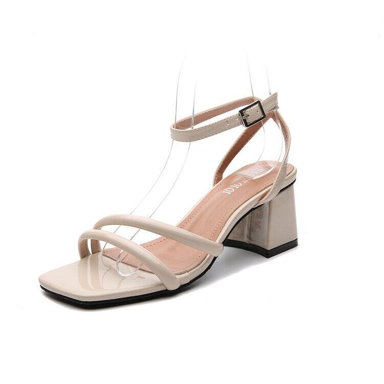 Hausschuhe Elegant Sandalen Absatz Eckig 7 cm Beige Leder Kunststoff 1100