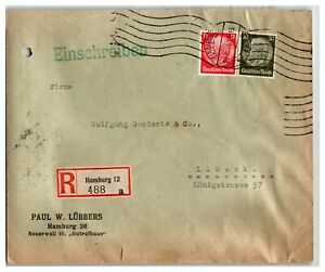 Germany-1933-Registered-Cover-to-Lubeck-Bottom-Tears-Z13973