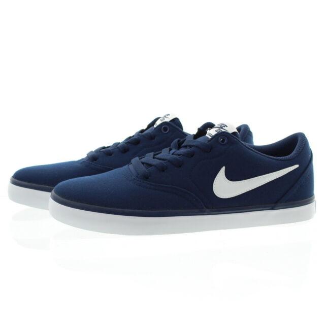 3ff4921859ff Nike SB Check Solarsoft Canvas 843896-400 Navy White Skate Shoes ...