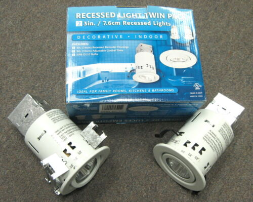 """3/"""" REMODEL NON IC RECESS CAN AND ADJUSTABLE WHITE GIMBAL RING TRIM  2 PACK"""