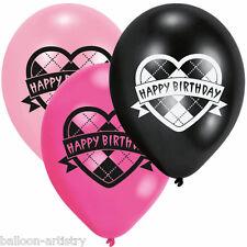 6 MONSTER HIGH Party CUORE HAPPY BIRTHDAY ROSA NERO Stampato Lattice Palloncini