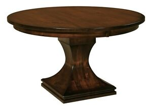 Details About Amish Pedestal Dining Table Round Modern Contemporary Solid  Wood Extending