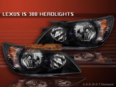 01-05 02 03 04 Lexus IS 300 IS-300 Headlights JDM Black