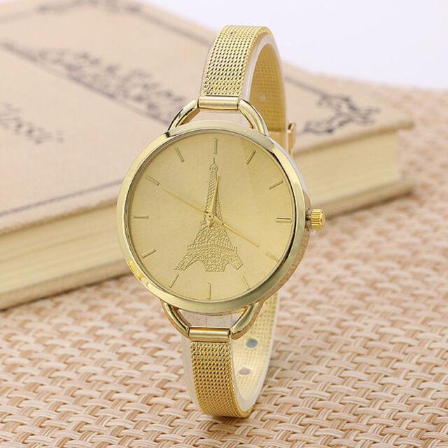 Ladies Fashion Quartz Eiffel Tower Gold Tone Case Slim Mesh Band Wrist Watch.