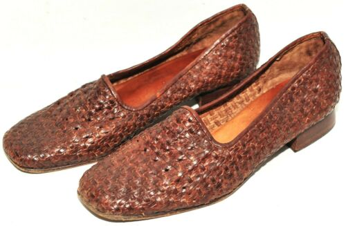 GREAT RUSSELL AND BROMLEY WOVEN LEATHER BASKET LOAFER SANDALS BROWN 7 UK 40 EU