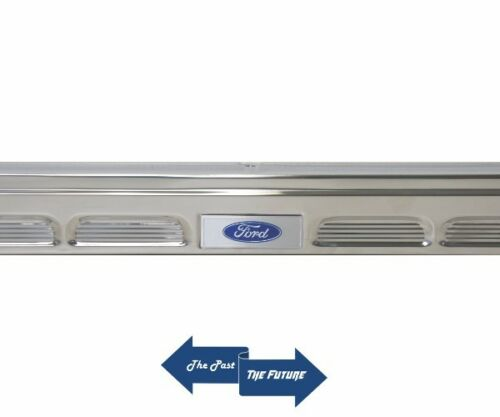 Pair Aluminum 65 66 67 68 Ford Mustang Door Sill Scuff Plates w// Ford Decals