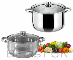 Stainless-Steel-Induction-Base-Casserole-Dish-Stock-Soup-Stew-Pot-Glass-Lid-Pan
