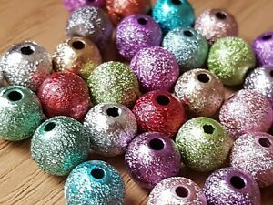 100-Mixed-Acrylic-METALLIC-Sparkly-Glitter-BEADS-6-or-8mm-Jewellery-Making