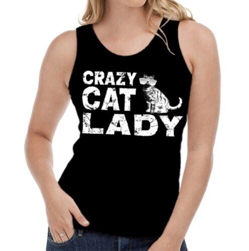 Velocitee Ladies Vest Crazy Cat Lady Slogan Feline W17675