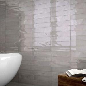 Image Is Loading Manhattan Grey Gloss Py Italian Ceramic Wall Tiles