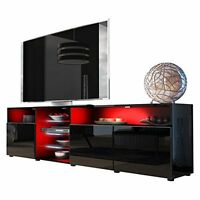 High Gloss Tv Stand Large Storage Unit Cabinet Media Flexible Glass Shelves Dvd