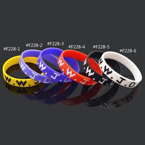 WWJD-What-Would-Jesus-Do-Silicone-Wristband-Bracelet-Multicolour-Fashion-New-1Pc