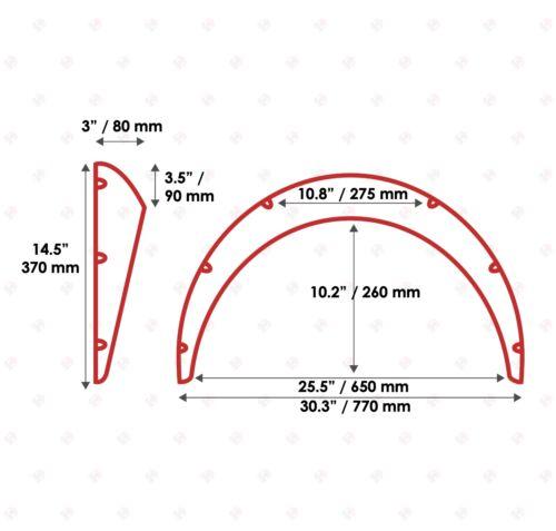 "JDM Fender Flares UNIVERSAL Wheel arch SET 3/"" wide 2 pieces"
