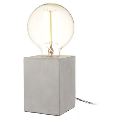 Design Tischleuchte Tischlampe Beton-Cubus Industrie Textilkabel  Deko-Glühbirne