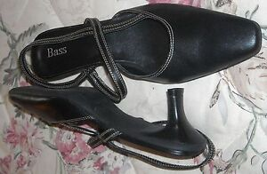 Bass-Black-Leather-7M-Pointed-Toe-Sling-Back-Kitten-Heeled-Shoes