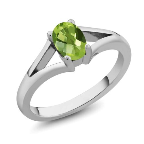 0.85 Ct Oval Checkerboard Green Peridot 925 Sterling Silver Ring