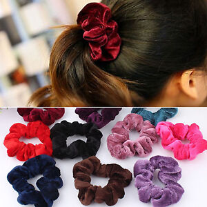 4x Plain Velvet Scrunchie Bobble Hair Tie Band Elastic Ponytail ... 3f4c69471c4