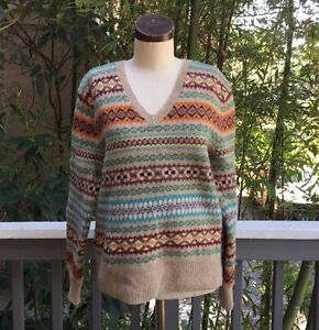 Vintage-90-039-s-RALPH-LAUREN-Wool-Sweater-LARGE-Indian-Tribal-Unisex
