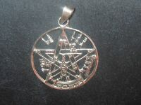 925 Sterling Silver 30mm Tetragrammaton Pentagram Wiccan Star Pendant Necklace