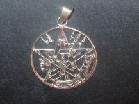 925 Sterling Silver 30mm Tetragrammaton Pentagram Wiccan Star Pendant Necklace