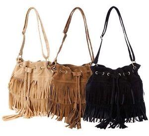 Womens Faux Suede Fringe Tassels Cross-body Shoulder Bag /Bucket Bag,3 colours