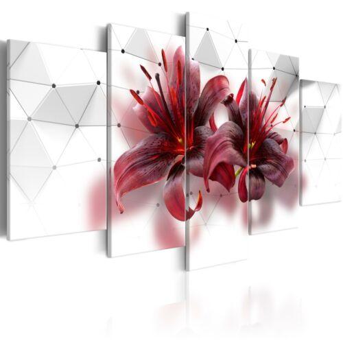 3D EFFEKT BLUMEN LILIEN Wandbilder xxl Bilder Vlies Leinwand b-C-0167-b-m