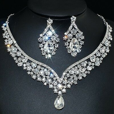 YT2100 Clear Rhinestone Crystal Earrings Necklace Set Bridal Party Gift