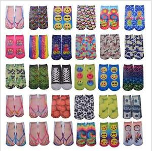 'Food-Emoji-Animal-Pattern-3D-Print-Mens-Womens-Casual-Low-Cut-Ankle-Cotton-Socks' from the web at 'https://i.ebayimg.com/images/g/5aYAAOSwSlBY2d40/s-l300.jpg'