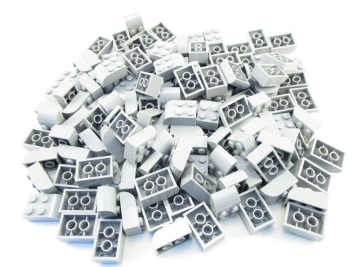 LEGO Light Bluish Gray Brick Modified 2x3 Curved Top Lot of 100 Parts Pieces 621